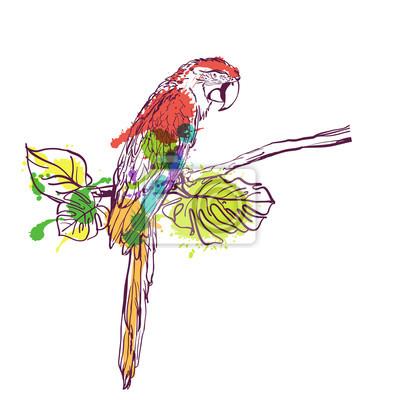 Perroquets Oiseaux Papier Peint Bleu Multicolore Fleurs Aquarelle Vinyle Lavable Papier peint
