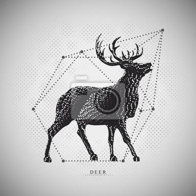Vecteur moderne de cerf sur le maillage pointillé. Illustration avec des éléments abstraits géométriques. Hipster Vector art.