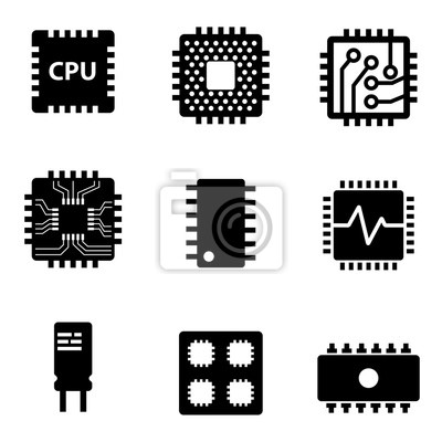 Papiers peints Vecteur noir processeur microprocesseur et icônes chips set. Électronique, puce, icônes, blanc, fond