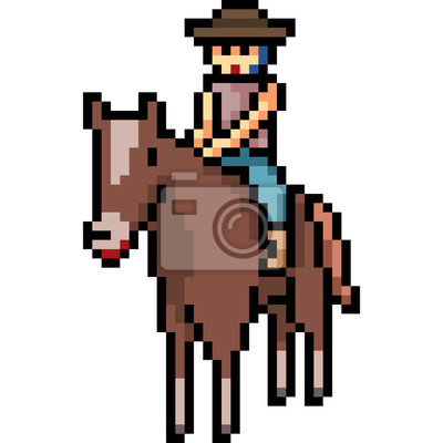 Papiers Peints Vecteur Pixel Art Homme Monter Cheval