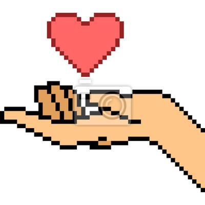 Vecteur Pixel Art Main Geste Amour Papier Peint Papiers Peints Nubes Pixel Donner Myloview Fr