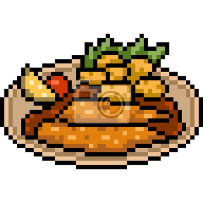Papiers Peints Vecteur Pixel Art Pâte Frite Bifteck