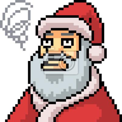 Papiers Peints Vecteur Pixel Art Père Noël Sennuie