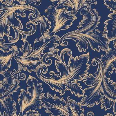 Vecteur, seamless, modèle, baroque, style Vintage, fond, invitation, tissus