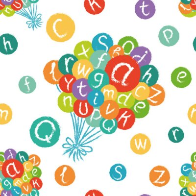 Papiers peints Vecteur, seamless, modèle, -, drôle, anglais, alphabet Craie tirée à la main comme des lettres dans les cercles colorés.