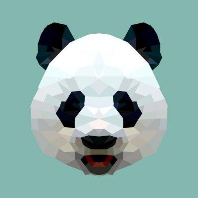 Papiers peints vecteur tête de panda polygone isolé