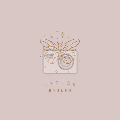 Papiers peints Vector abstract logo design template in trendy linear minimal style - butterfly and stars