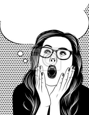 vector affiche noir et blanc du visage de la femme dans les motions papier peint papiers. Black Bedroom Furniture Sets. Home Design Ideas