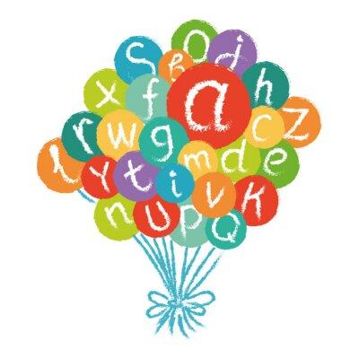 Papiers peints Vector alphabet anglais drôle. Craie tirée à la main comme des lettres dans les cercles colorés.