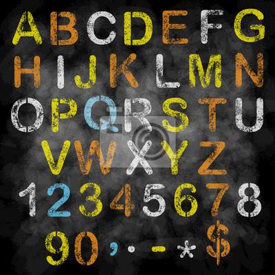Vector alphabet craie sur le tableau noir