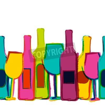 Papiers peints Vector aquarelle fond transparent, bouteilles de vin coloré et des verres. Concept pour le menu de barre, partie, boissons d'alcool, vacances, liste de vin, prospectus, brochure, affiche, bannière. De