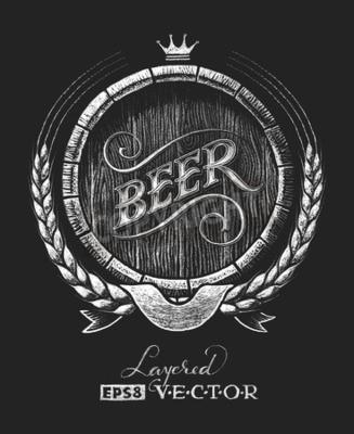 Papiers peints Vector baril de bière tiré sur le tableau noir. RVB. Une couleur globale. Gradients gratuits. Chaque élément est regroupé séparément