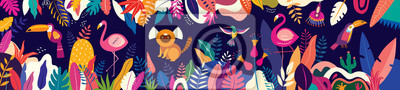 Papiers peints Vector colorful illustration with tropical flowers, leaves, monkey, flamingo and birds. Brazil tropical pattern.