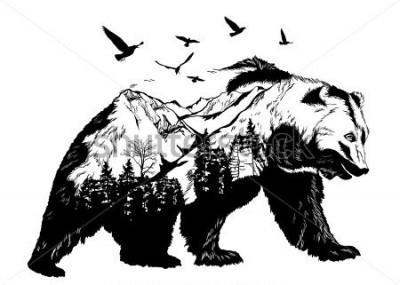 Papiers peints Vector Double exposure, bear for your design, wildlife concept