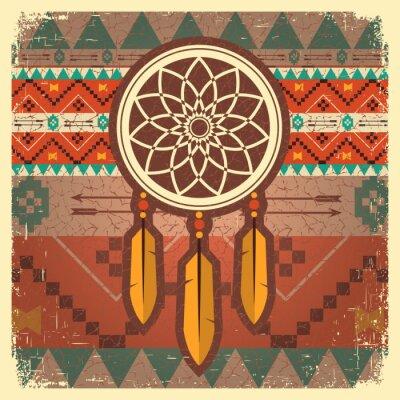 Papiers peints Vector dream catcher poster with ethnic ornament