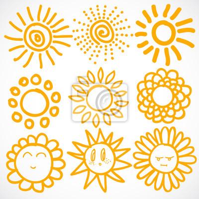 Vector ensemble de différentes soleils isolé, Illustration tirée par la main