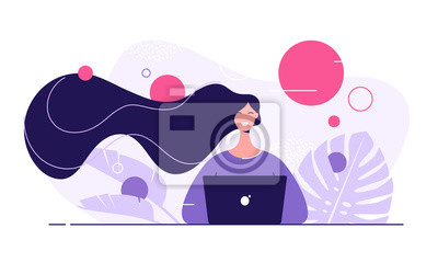 Papiers peints Vector flat style illustration of a young beautiful woman with laptop surrounded by tropical leaves