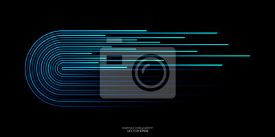 Papiers peints Vector half circles lines flowing dynamic pattern in blue green colors isolated on black background for concept of AI technology, digital, communication, science, music