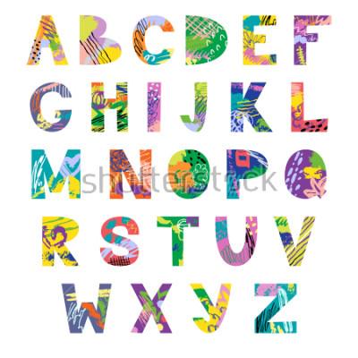 Papiers peints Vector hand drawn latin artistic alphabet. Doodle fancy abc. Colorful fanky creative font.