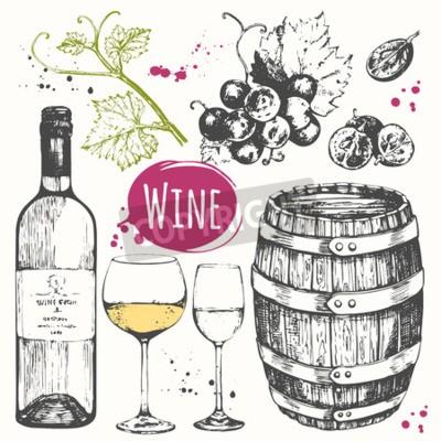 Papiers peints Vector illustration avec le baril de vin, verre de vin, raisins, brindille de raisin. Boisson alcoolisée classique.