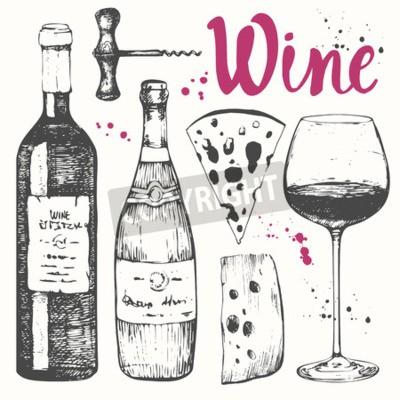 Papiers peints Vector illustration avec un verre de vin, tire-bouchon, bouteille, champagne, fromage. Boisson alcoolisée classique.