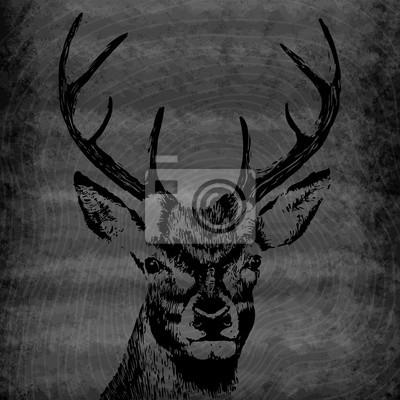 Vector illustration de cerfs silhouette. Affiche calligraphique