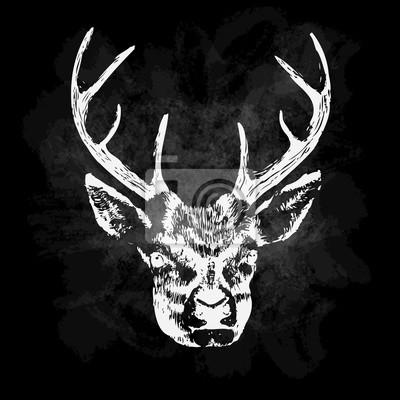 Vector illustration de la silhouette de cerfs. Affiche calligraphique.