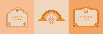Papiers peints Vector illustration in simple linear style - design templates - hippie style