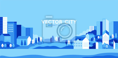 Papiers peints Vector illustration in simple minimal geometric flat style - city landscape with buildings, hills and trees - abstract horizontal banner