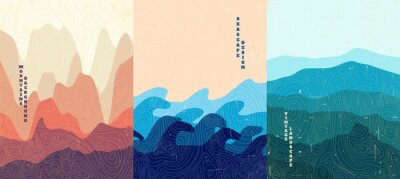 Papiers peints Vector illustration landscape. Wood surface texture. Hills, seascape, mountains. Japanese wave pattern. Mountain background. Asian style. Design for poster, book cover, web template, brochure.