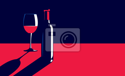 Papiers peints Vector illustration of a bottle and glass of red wine on the table in vintage elegant minimal style