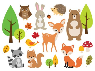 Papiers peints Vector illustration of cute woodland forest animals including deer, rabbit, hedgehog, bear, fox, raccoon, bird, owl, and squirrel.