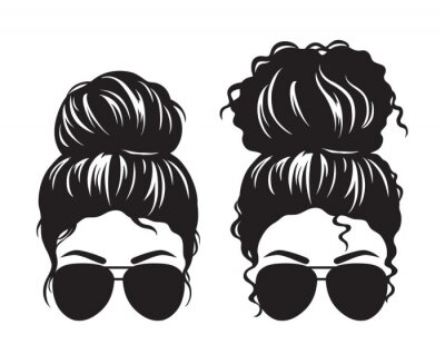 Papiers peints Vector illustration of straight and curly hair woman with messy buns and sunglasses silhouette.