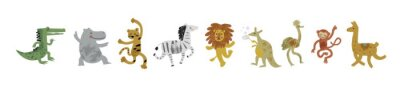 Papiers peints Vector illustration set of cute dancing animals in cartoon style