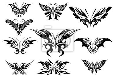 Vector Illustration Tatouage Papillon Noir Papier Peint Papiers Peints Papillon De Nuit Monarque Fragilite Myloview Fr