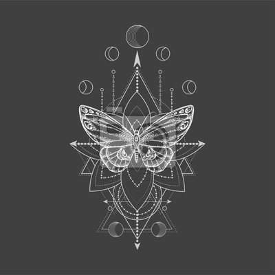Papiers peints Vector illustration with hand drawn butterfly and Sacred geometric symbol on black background. Abstract mystic sign.