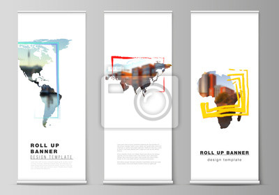 Papiers peints Vector layout of roll up mockup template for vertical flyers, flags design templates, banner stands, advertising design. Design template in the form of world maps and colored frames, insert your photo