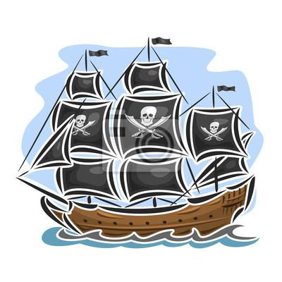 Vector Logo Pirate Voilier Voilier Sailer Navire Voile Barque