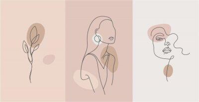 Papiers peints Vector minimalist style portrait. Line flower, woman portrait. Hand drawn abstract feminine print. Use for social net stories, beauty logos, poster illustration, card, t-shirt print