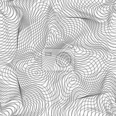 Vector Motif Monochrome Sans Soudure Lignes Courbes Fond Noir