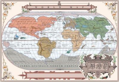 Papiers peints Vector old globe in vintage frame