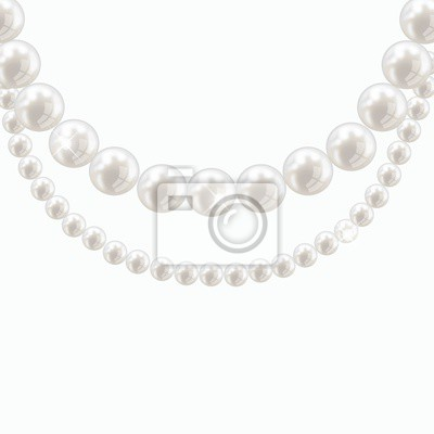 Vector pearl necklace on light background papier peint - Papier peint vinyle expanse ...