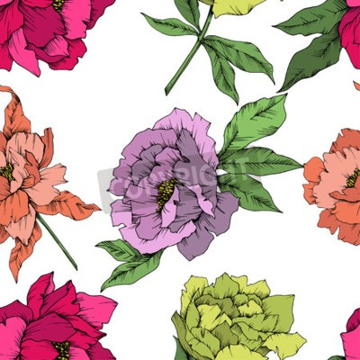 Papiers peints Vector Peony floral botanical flower. Wild spring leaf wildflower isolated. Engraved ink art. Seamless background pattern. Fabric wallpaper print texture.