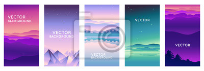 Papiers peints Vector set of abstract backgrounds with copy space for text and bright vibrant gradient colors - landscape with mountains and hills  - vertical banners and background for  social media stories, banner