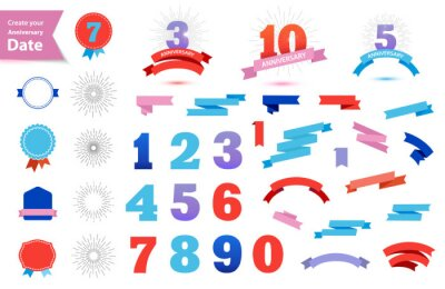 Papiers peints Vector set of anniversary dates. Create your own anniversary sign. Retro ribbons, bagges, sun burst, numbers 1,2,3,4,5,6,7,8,9,0