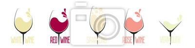 Papiers peints Vector set of different types of wine