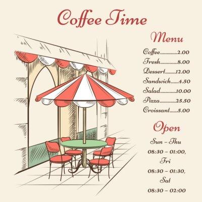 Papiers peints Vector Street Cafe affiche