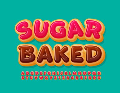 Papiers peints Vector sweet banner Sugar Baked. Delicious cake Font. Pink glazed Alphabet Letters and Numbers set
