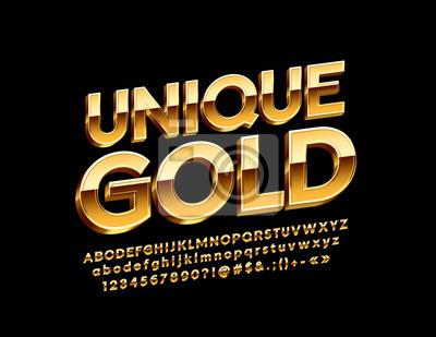 Papiers peints Vector Unique Gold Alphabet Letters, Numbers and Symbols, Glossy 3D Font.