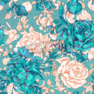 Papiers peints Vector vintage pattern with roses and peonies. Retro floral wallpaper, colorful backdrop